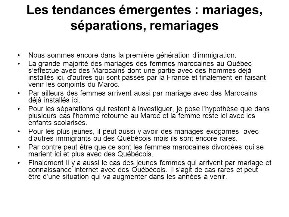 Les tendances émergentes : mariages, séparations, remariages