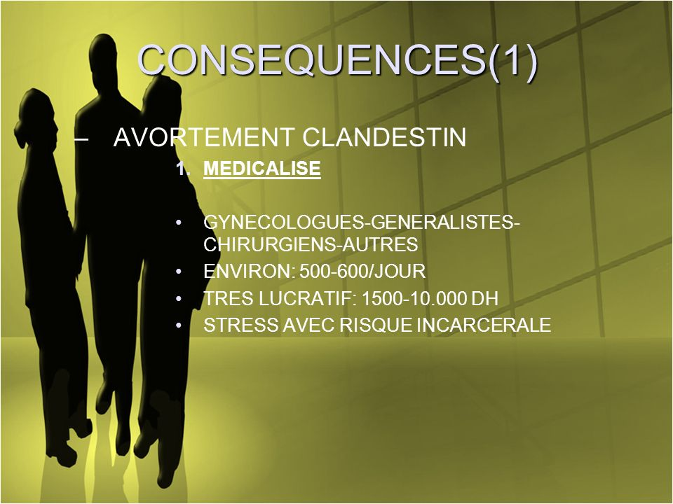 CONSEQUENCES(1) AVORTEMENT CLANDESTIN MEDICALISE