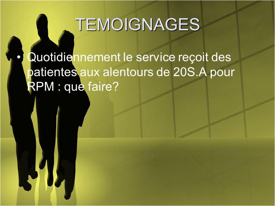 TEMOIGNAGES Quotidiennement le service reçoit des patientes aux alentours de 20S.A pour RPM : que faire