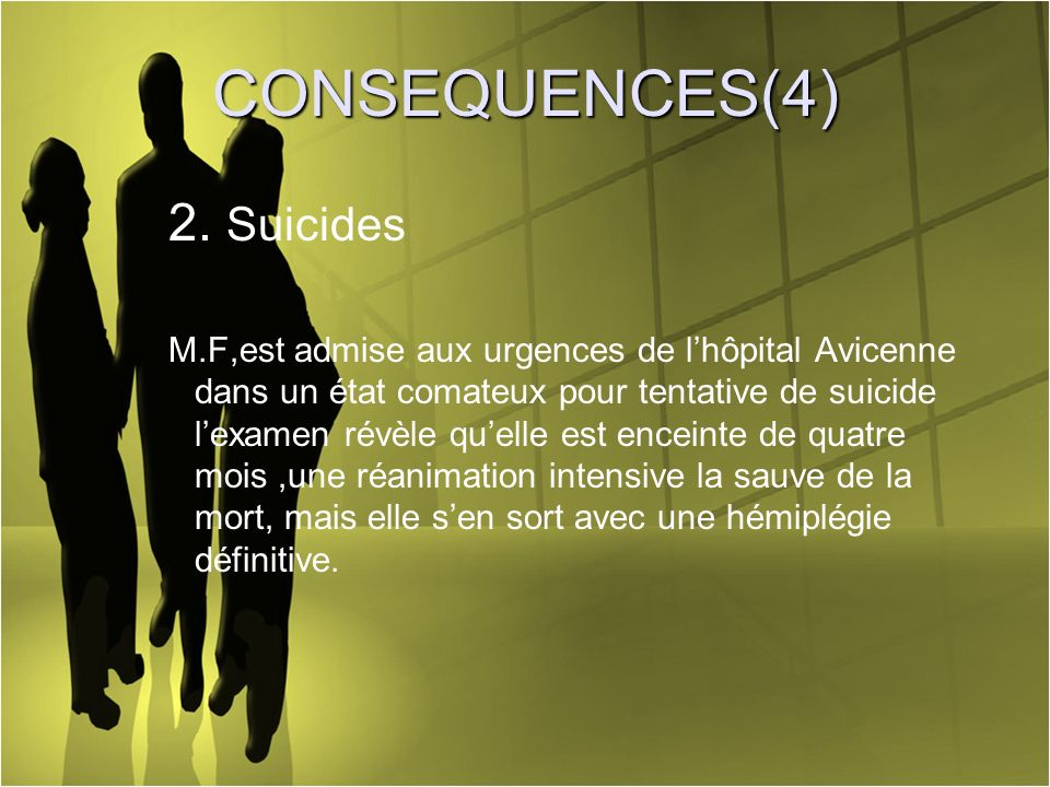 CONSEQUENCES(4) 2. Suicides