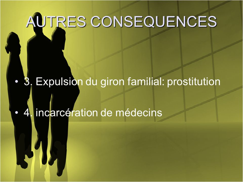AUTRES CONSEQUENCES 3. Expulsion du giron familial: prostitution