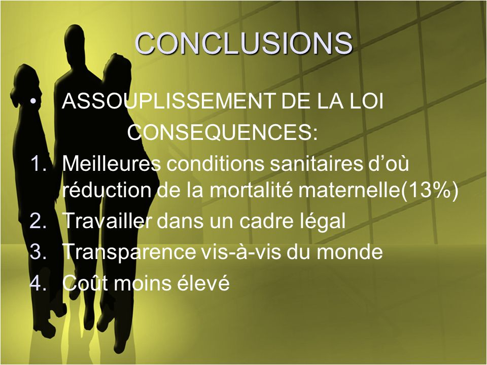 CONCLUSIONS ASSOUPLISSEMENT DE LA LOI CONSEQUENCES: