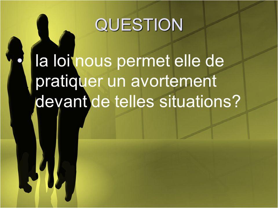 QUESTION la loi nous permet elle de pratiquer un avortement devant de telles situations