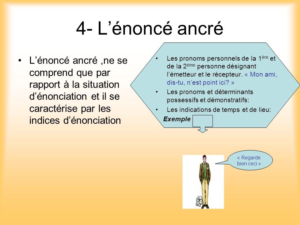 4- L'énoncé ancré L'énoncé ancré ,ne se comprend que par rapport à la situation d'énonciation et il se caractérise par les indices d'énonciation.