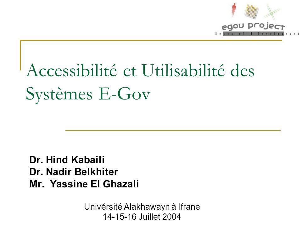 Accessibilité et Utilisabilité des Systèmes E-Gov