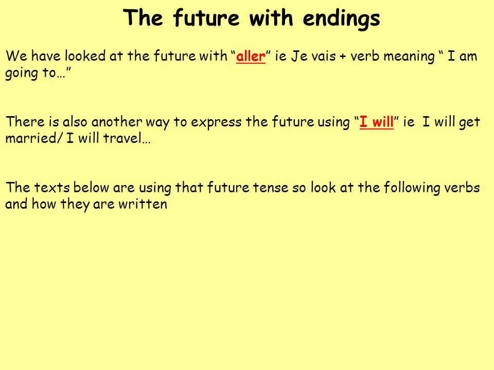 The future with endings