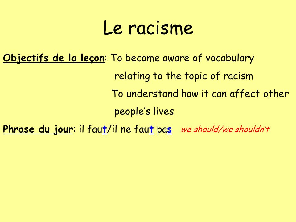 Le racisme Objectifs de la leçon: To become aware of vocabulary