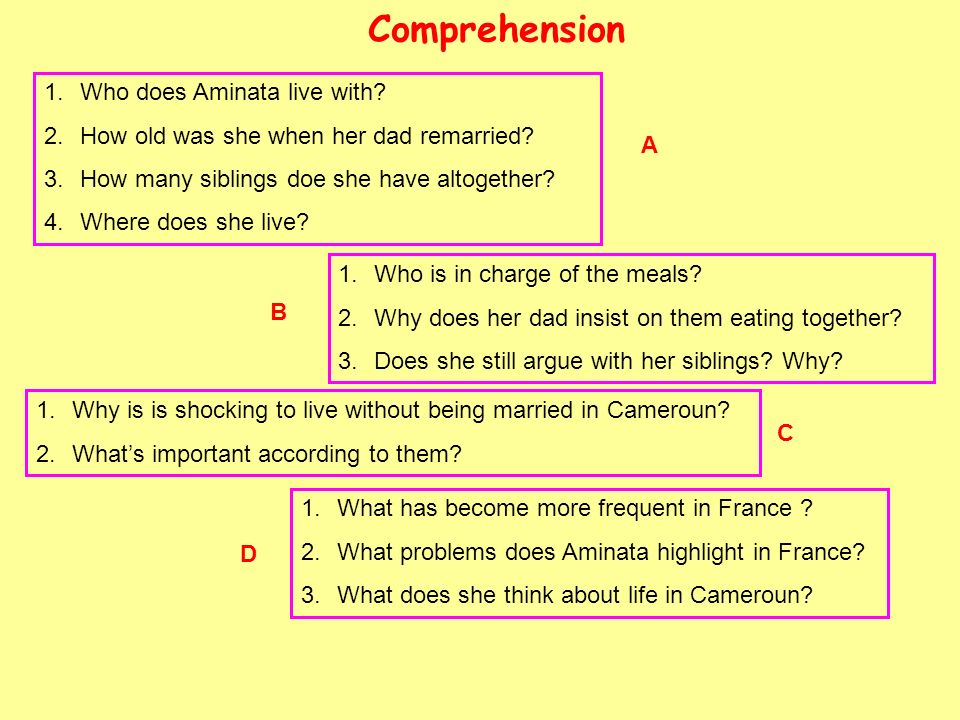 Comprehension Who does Aminata live with
