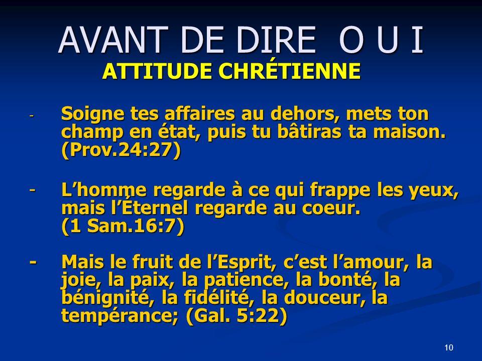 AVANT DE DIRE O U I ATTITUDE CHRÉTIENNE