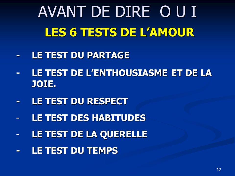AVANT DE DIRE O U I LES 6 TESTS DE L'AMOUR - LE TEST DU PARTAGE