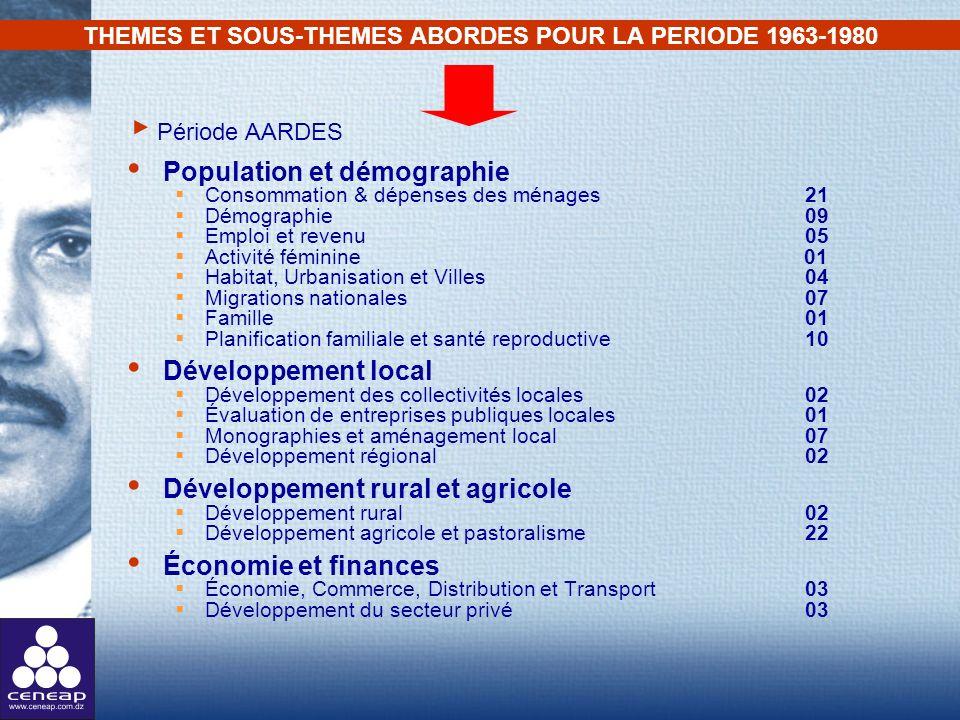 THEMES ET SOUS-THEMES ABORDES POUR LA PERIODE 1963-1980