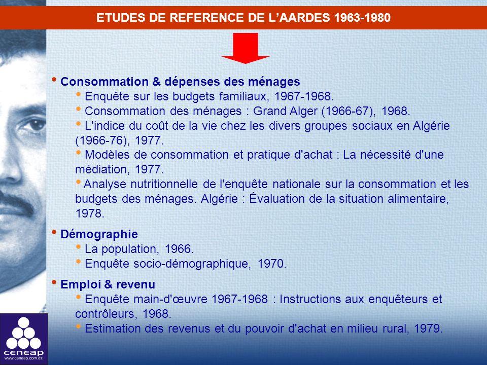 ETUDES DE REFERENCE DE L'AARDES 1963-1980
