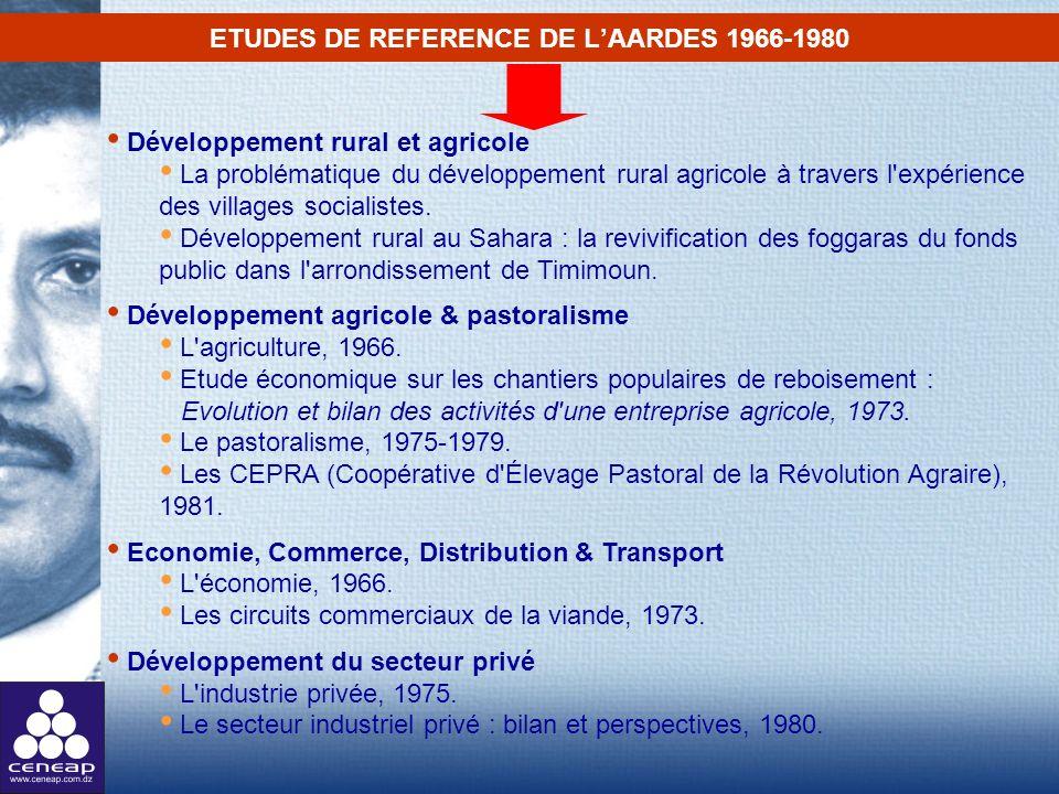 ETUDES DE REFERENCE DE L'AARDES 1966-1980