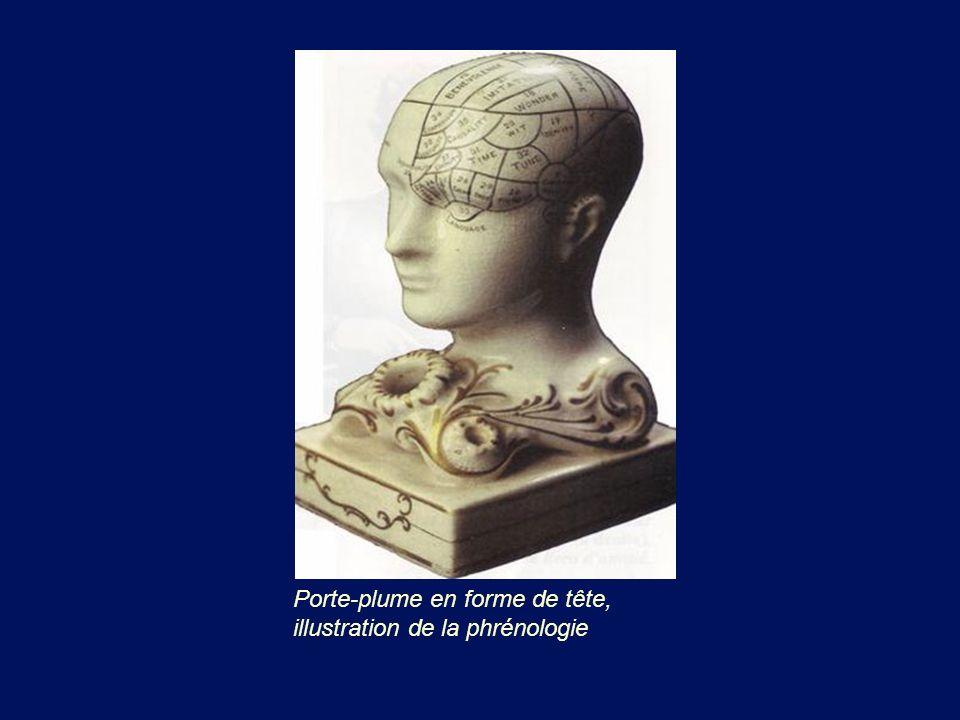 Porte-plume en forme de tête, illustration de la phrénologie