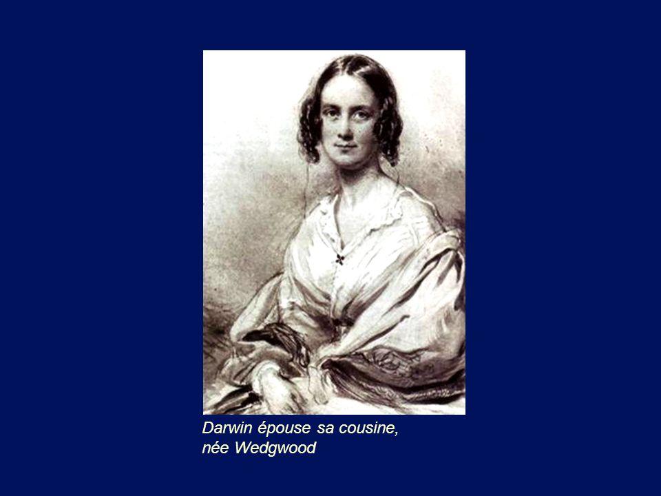 Darwin épouse sa cousine, née Wedgwood