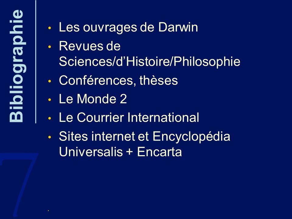 7 Bibliographie Les ouvrages de Darwin