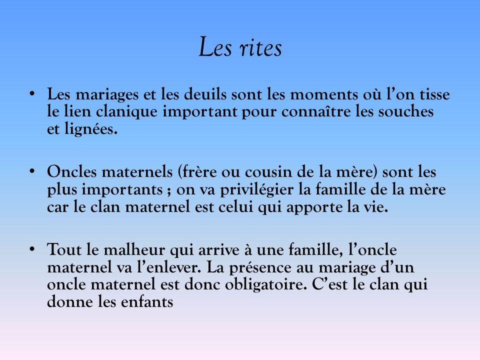 Les rites Les mariages et les deuils sont les moments où l'on tisse le lien clanique important pour connaître les souches et lignées.