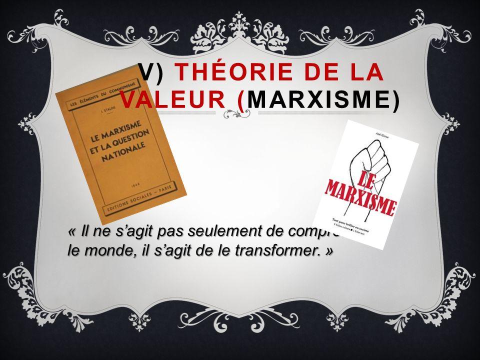 V) Théorie de la valeur (Marxisme)