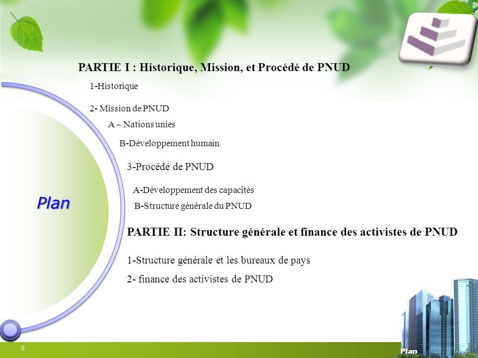 Plan PARTIE I : Historique, Mission, et Procédé de PNUD