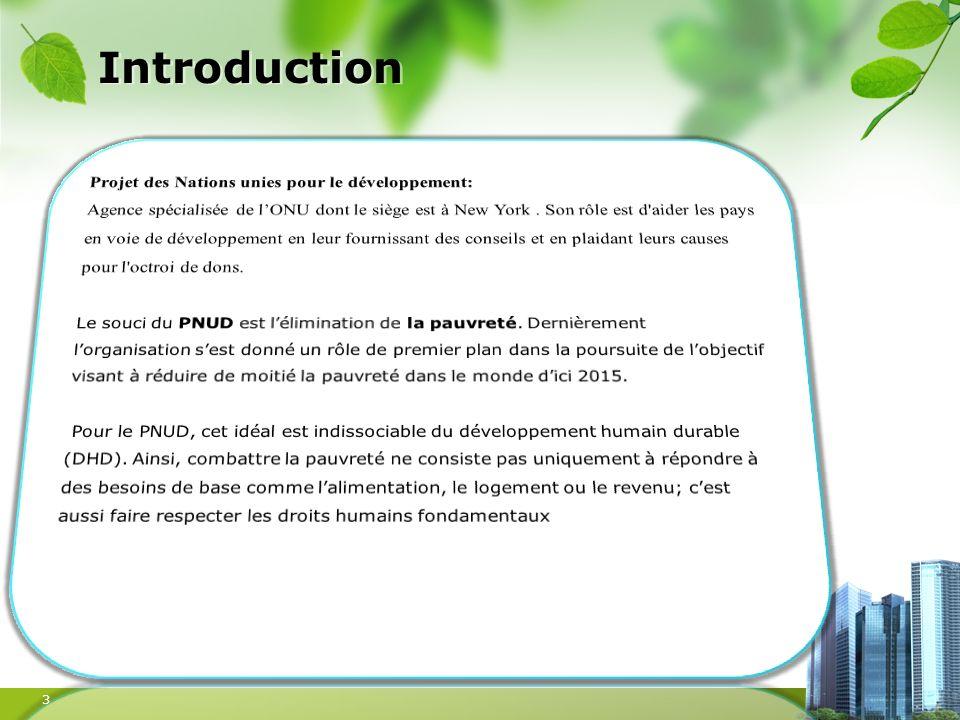 Introduction Projet des Nations unies pour le développement: