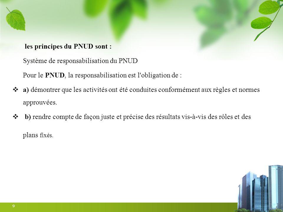 les principes du PNUD sont :