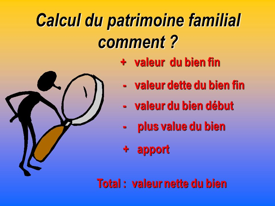 Calcul du patrimoine familial comment