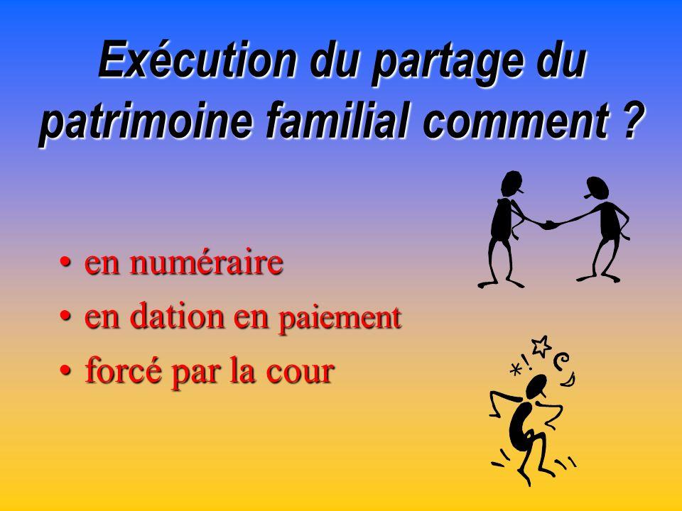 Exécution du partage du patrimoine familial comment
