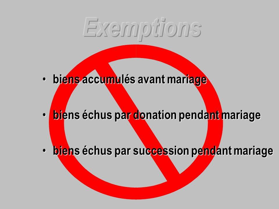 Exemptions biens accumulés avant mariage