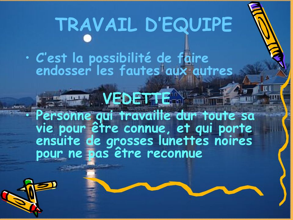 TRAVAIL D'EQUIPE VEDETTE