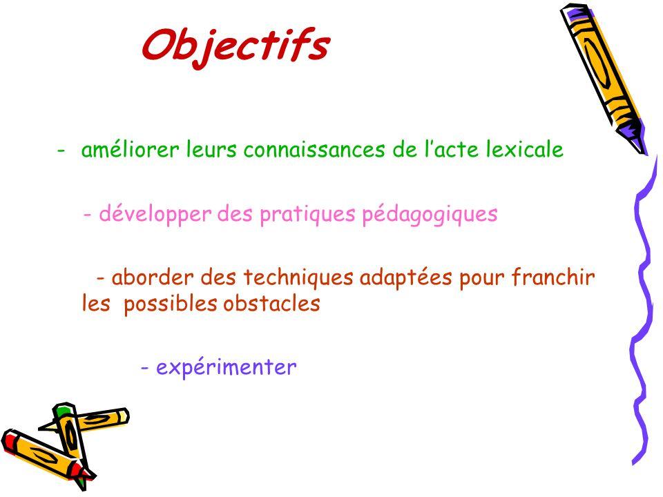 Objectifs améliorer leurs connaissances de l'acte lexicale