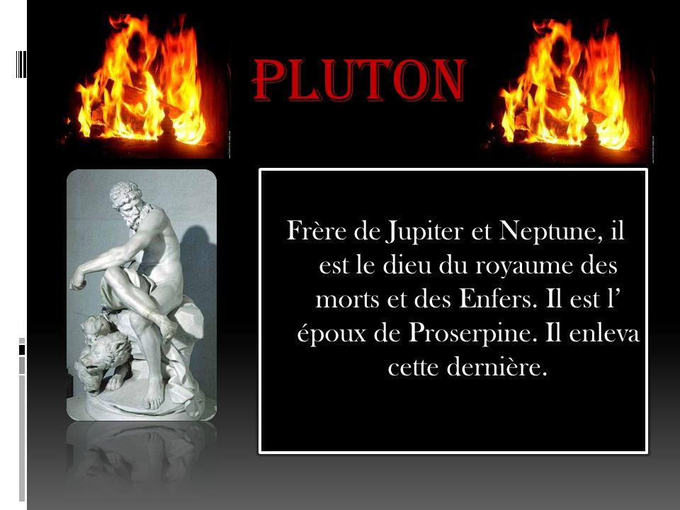 Pluton Frère de Jupiter et Neptune, il est le dieu du royaume des morts et des Enfers.