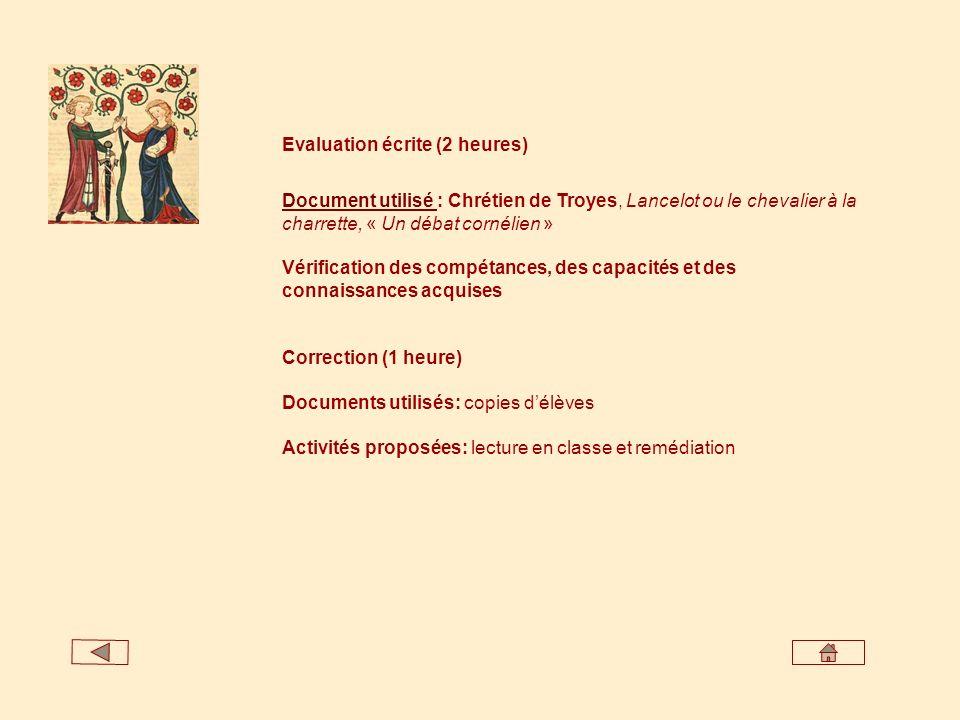 Evaluation écrite (2 heures)