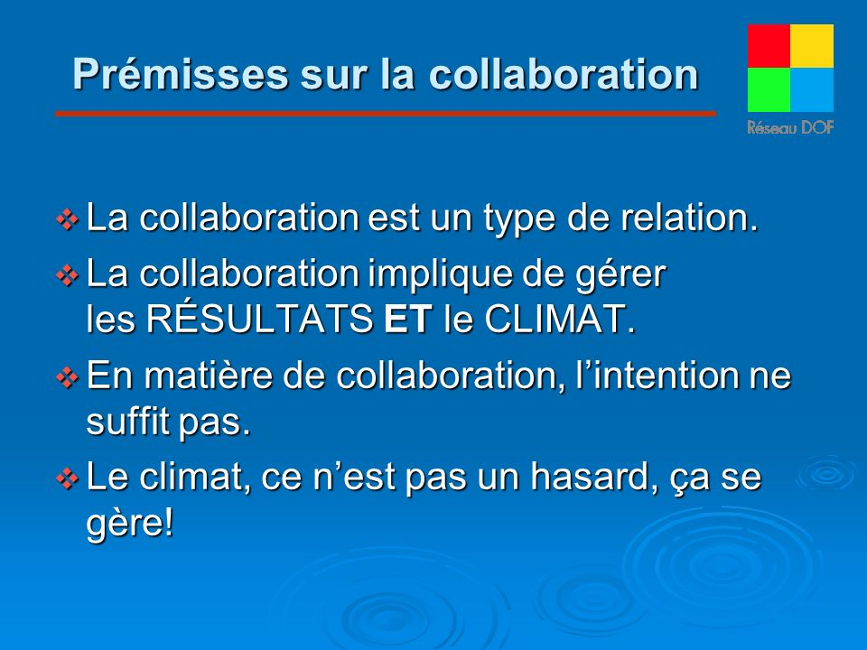 Prémisses sur la collaboration