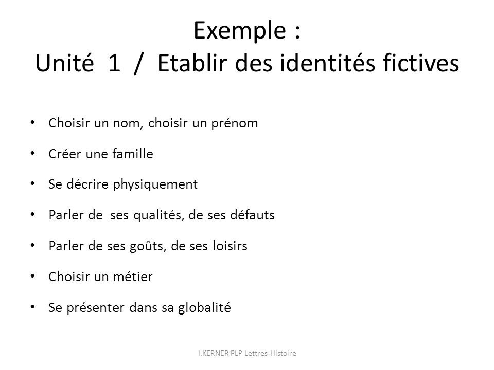 Exemple : Unité 1 / Etablir des identités fictives