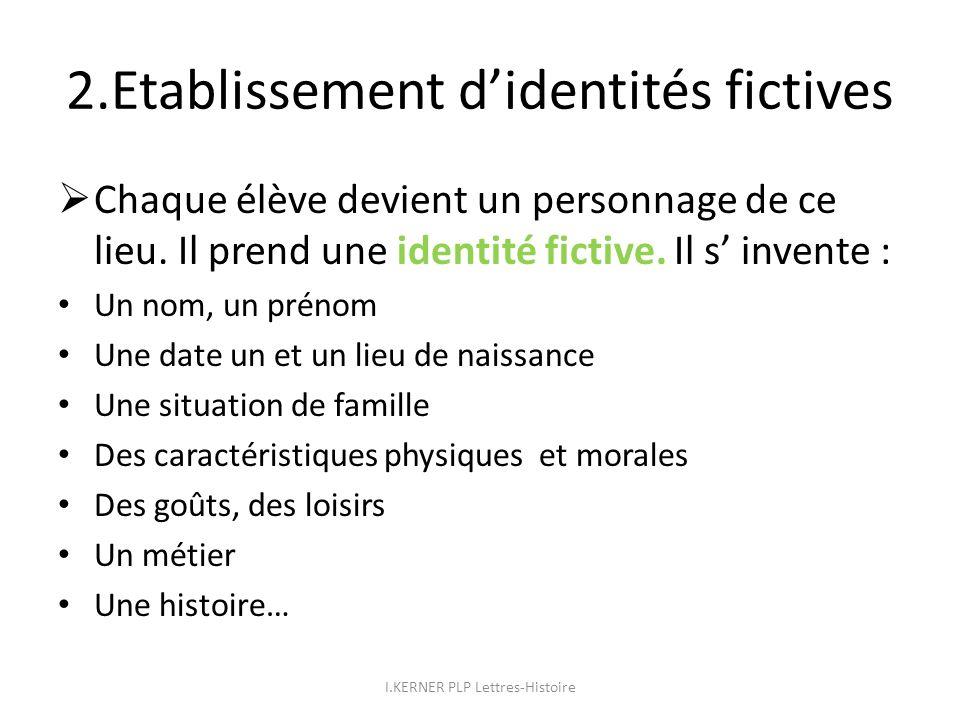 2.Etablissement d'identités fictives