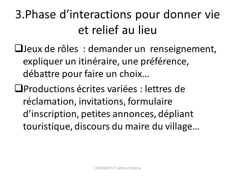 3.Phase d'interactions pour donner vie et relief au lieu