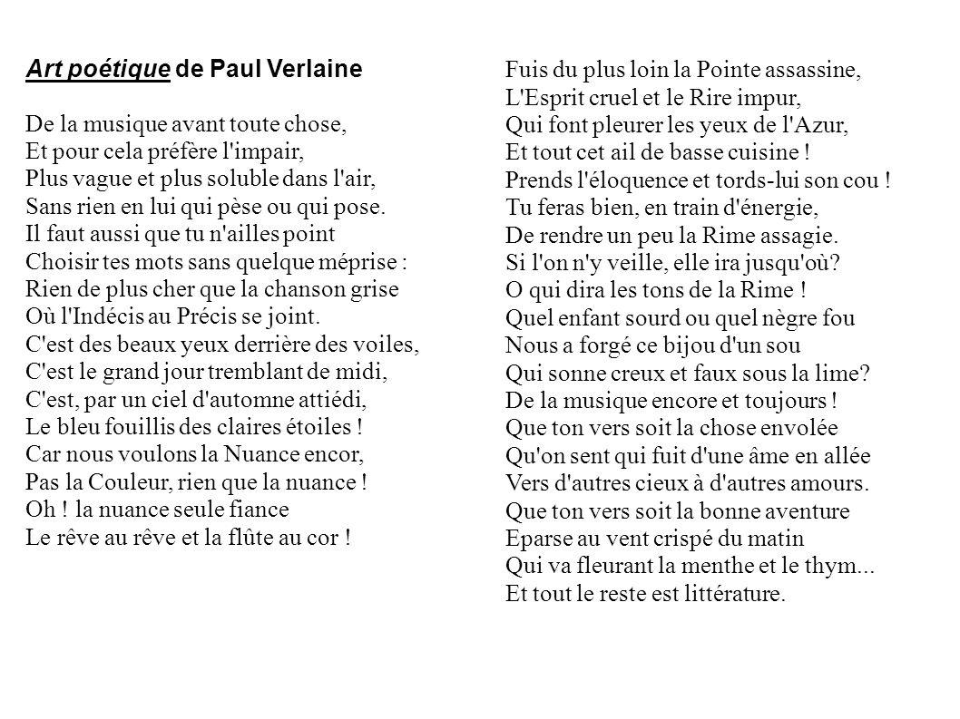 Art poétique de Paul Verlaine De la musique avant toute chose,