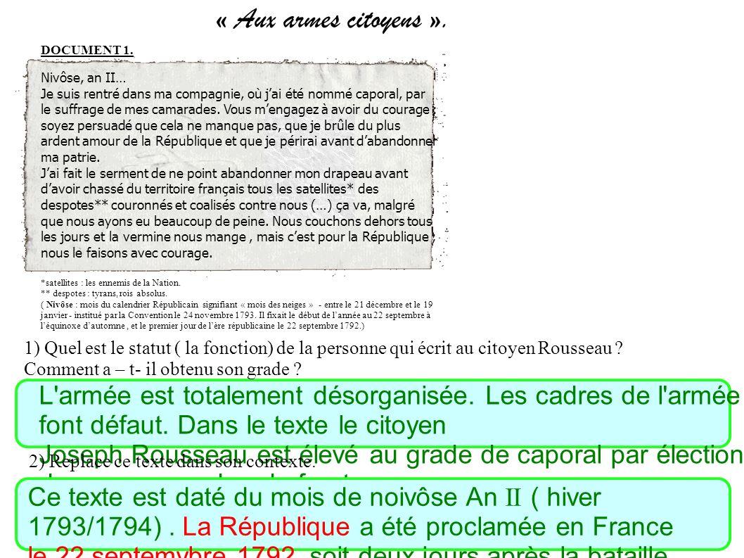 « Aux armes citoyens ». DOCUMENT 1. Nivôse, an II…