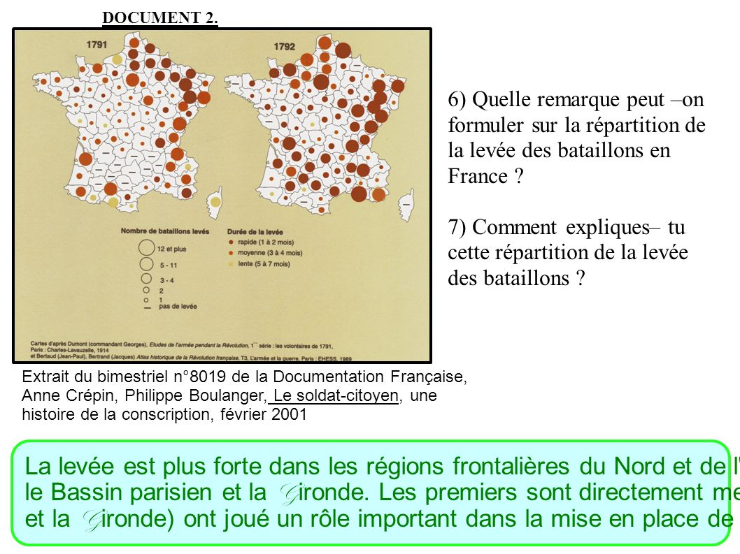 DOCUMENT 2. 6) Quelle remarque peut –on formuler sur la répartition de la levée des bataillons en France