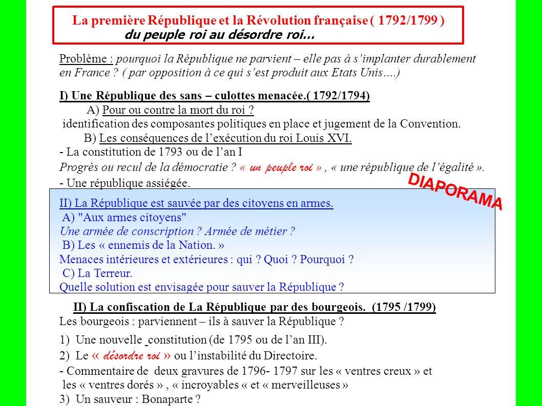 La première République et la Révolution française ( 1792/1799 )