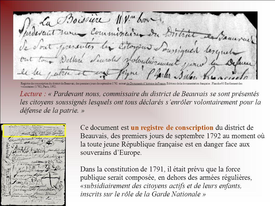 Registre de conscription du district de Beauvais, des premiers jours de septembre 1792 extrait de Documents d'histoire de France, Editions de la documentation française . Planche 60 Enrôlement des volontaires (1792), Paris, 1952.