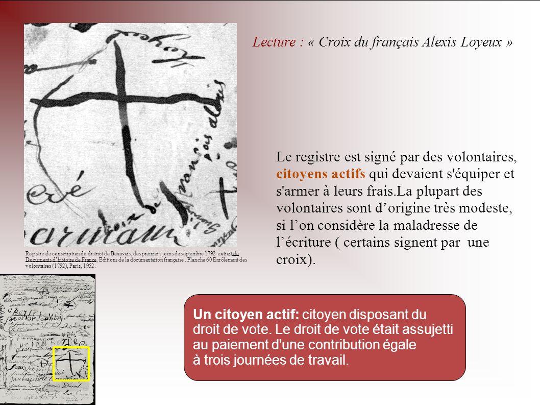 Lecture : « Croix du français Alexis Loyeux »