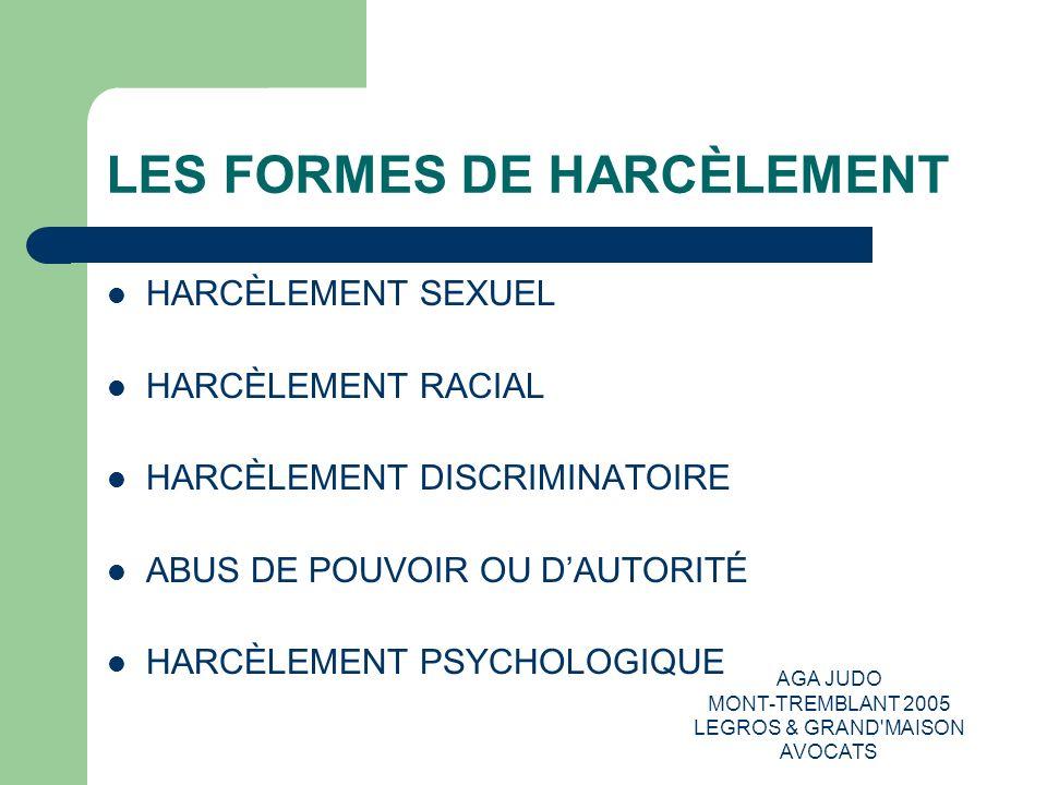 LES FORMES DE HARCÈLEMENT