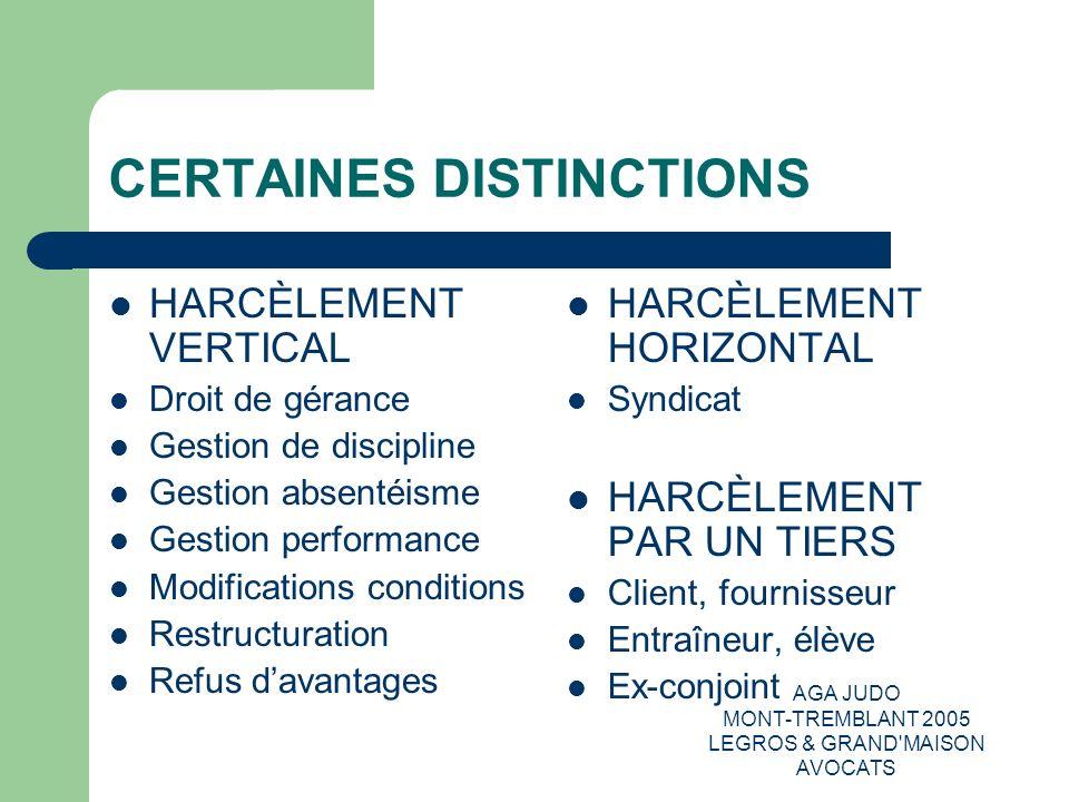 CERTAINES DISTINCTIONS