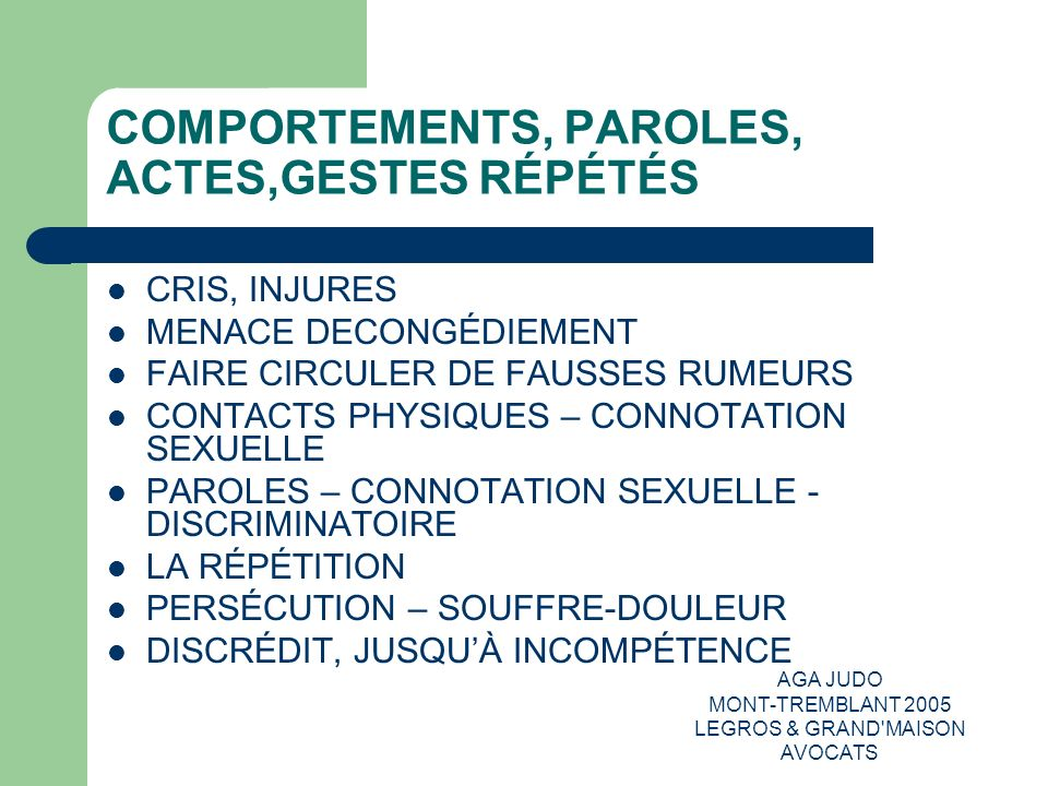 COMPORTEMENTS, PAROLES, ACTES,GESTES RÉPÉTÉS