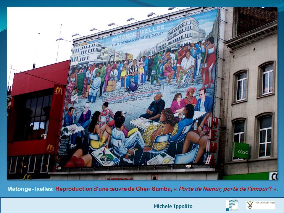 Matonge - Ixelles: Reproduction d une œuvre de Chéri Samba, « Porte de Namur, porte de l amour ».
