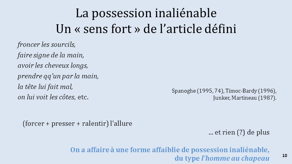 La possession inaliénable Un « sens fort » de l'article défini