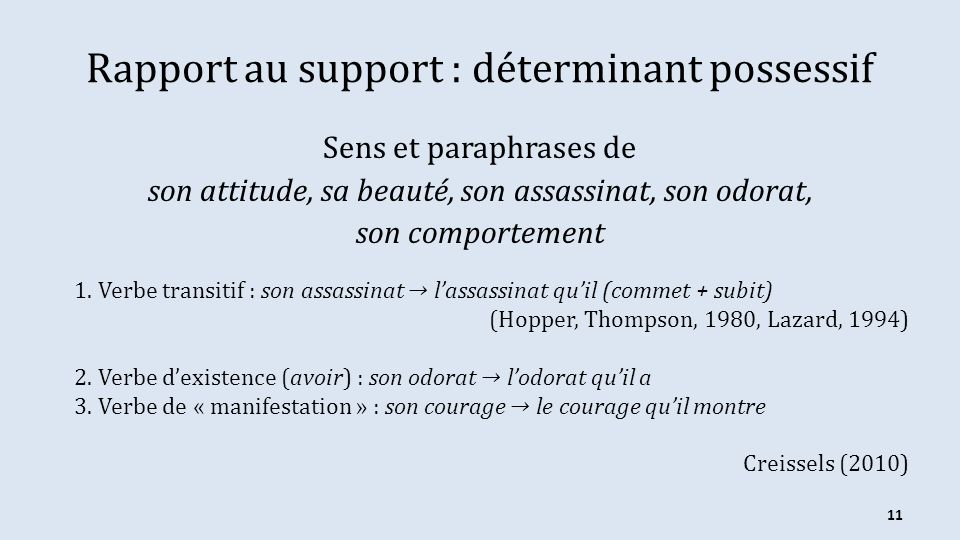 Rapport au support : déterminant possessif