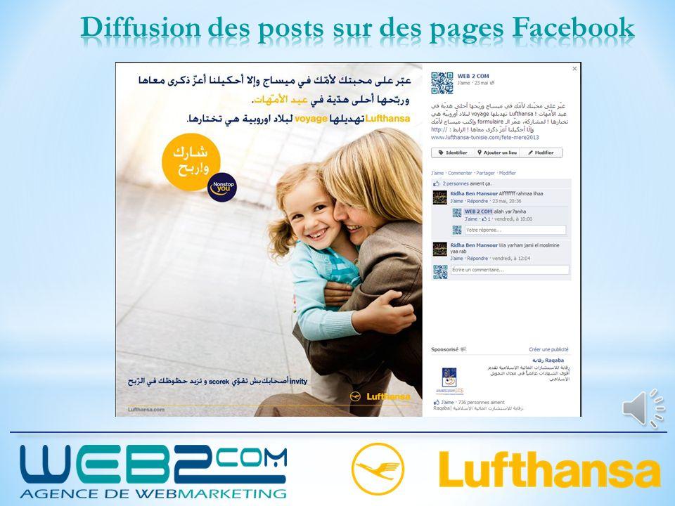 Diffusion des posts sur des pages Facebook