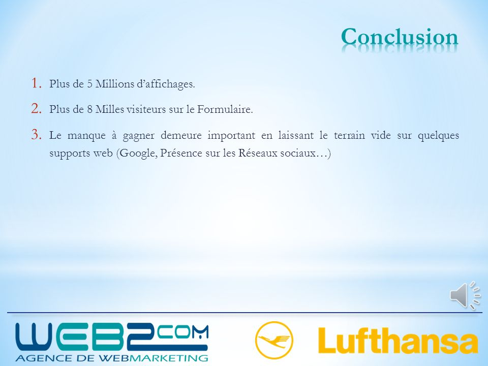 Conclusion Plus de 5 Millions d'affichages.